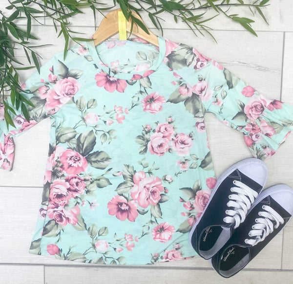 Floral Ruffle Sleeve Tunic, Mint