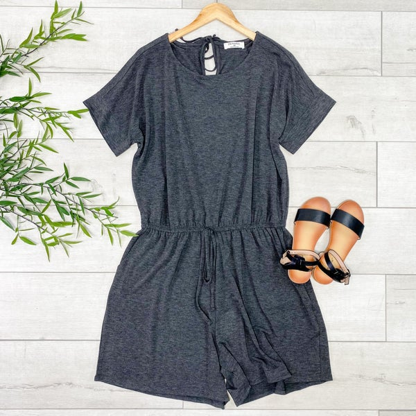 *PLUS* Solid Cuffed Sleeve Romper, Charcoal