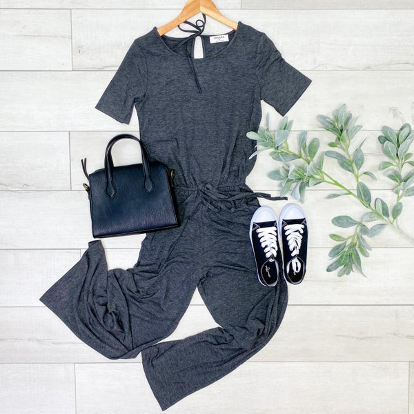 Solid Short Sleeve Jumpsuit w/Pockets, Charcoal
