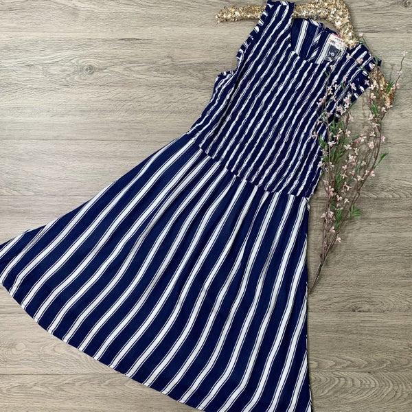 *Kendra's Collection* Striped Smocked Sleeveless Dress, Navy