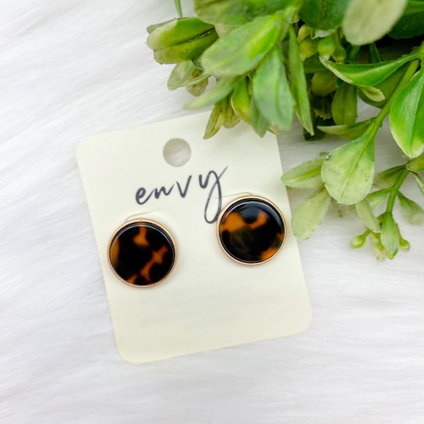Tortoise Circle Stud Earrings, Brown *Final Sale*