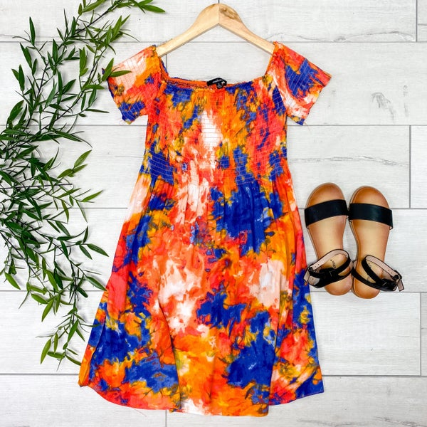 Smocked Tie Dye Dress, Orange/Blue