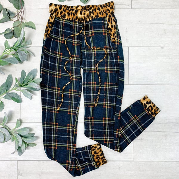 Contrast Plaid and Leopard Joggers,  Hunter Green