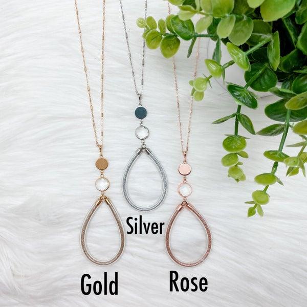 Teardrop Glitter Long Necklace