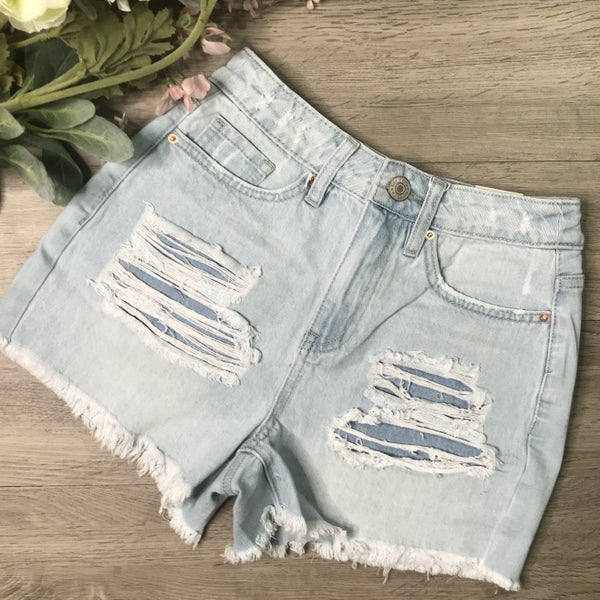 *Kendra's Collection* YMI High Rise Shorts w/Frey Hem, Light Denim