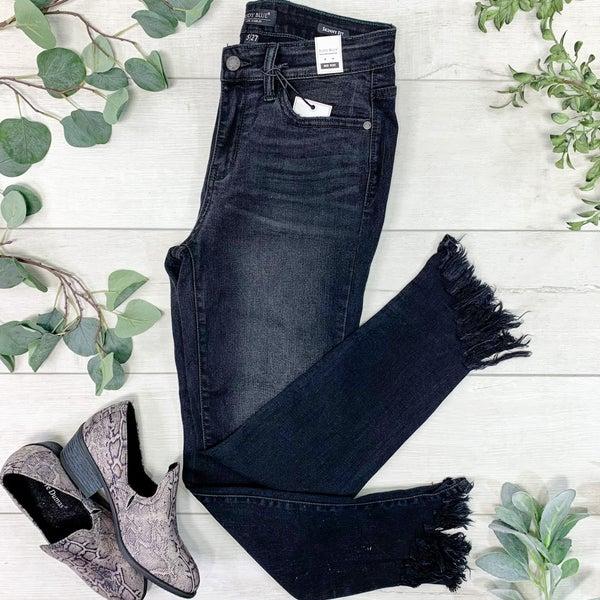 *Kendra's Collection* Frayed Hem Skinny Jean, Black