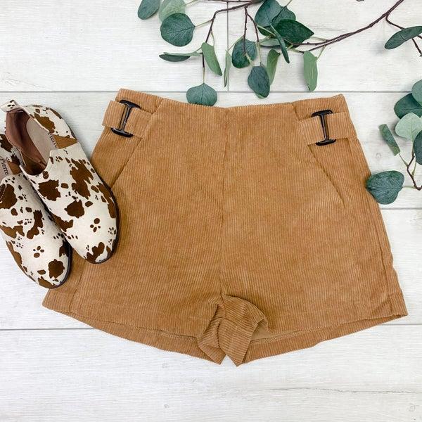 Corduroy Shorts w/Pockets, Camel