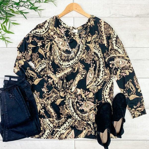 Floral Patterned Pullover Top, Black
