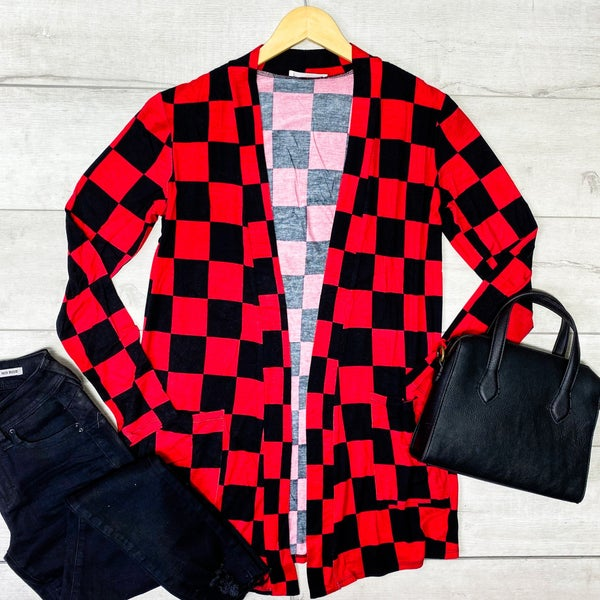 Checkered Print Cardigan, Red/Black *Final Sale*