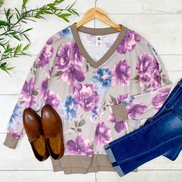 Floral V-neck Top, Taupe/Purple