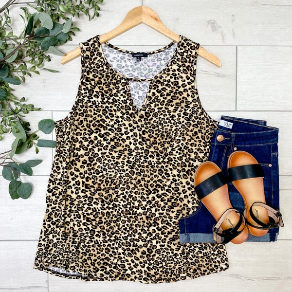 *PLUS* Sleeveless Keyhole Leopard Top, Mocha