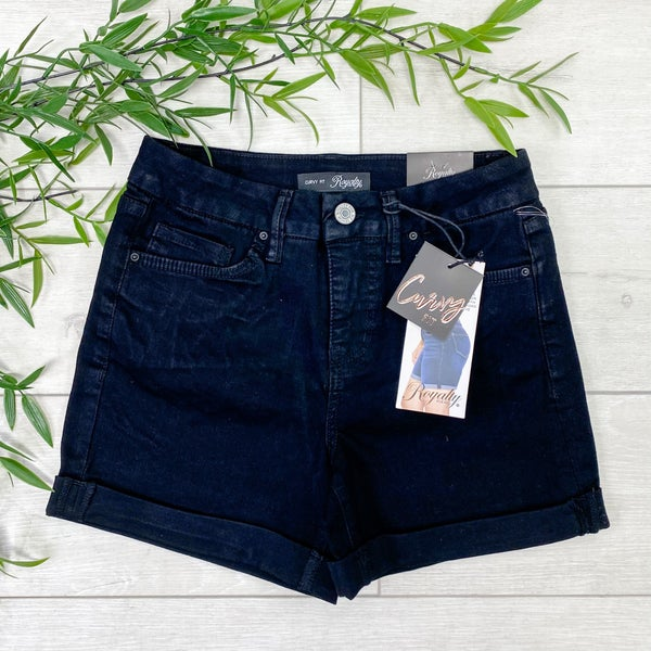 *YMI* Curvy Fit High Waist Cuffed Shorts - Black Wash