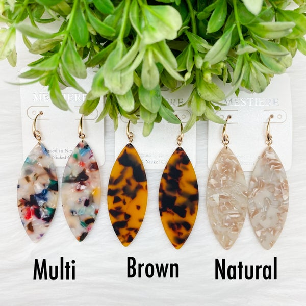 Pinched Oval Acetate Earrings