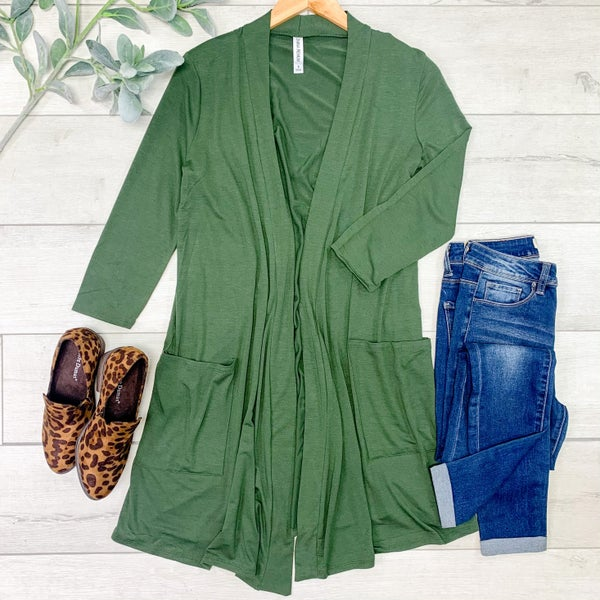 Solid Long Lightweight Cardigan w/ Pockets, Army Green