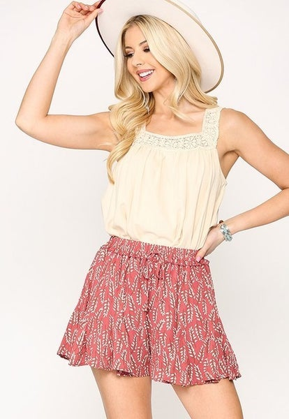 Leaf Print Flared Lining Shorts - ROSE