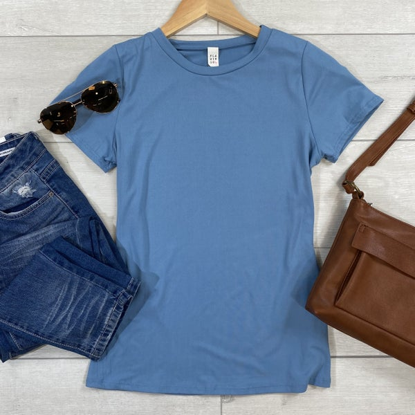 Solid Short Sleeve Top, Blue *Final Sale*