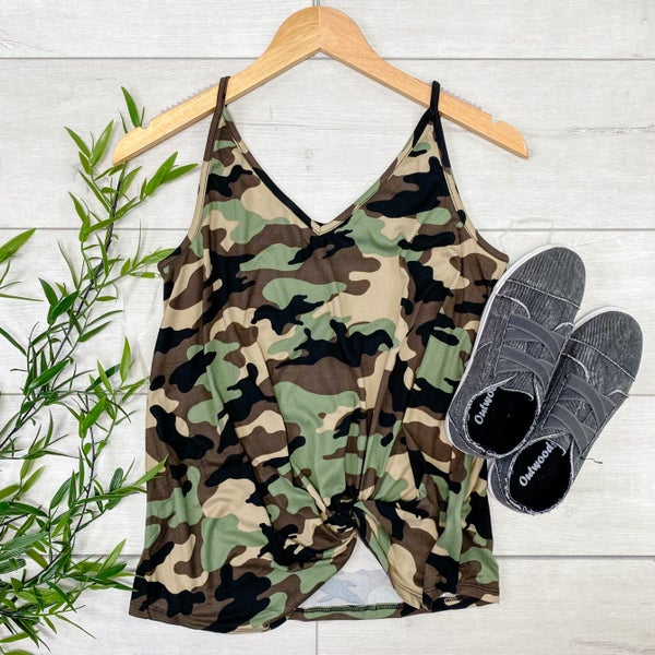 Camo Front Knot Cami, Brown Combo