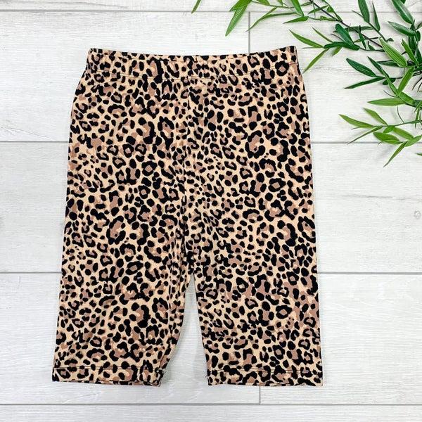 Cheetah Print Biker Short, Camel Black