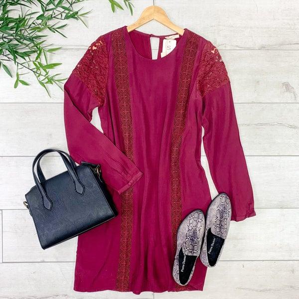 Lace Trimmed Dress, Burgundy