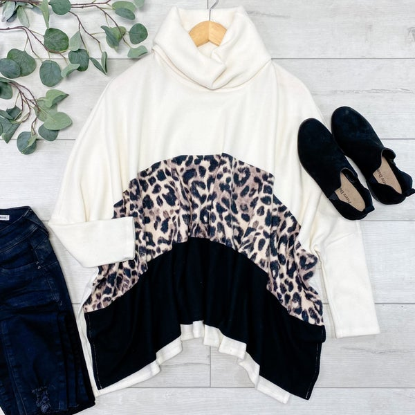 *Kendra's Collection* Solid & Animal Pattern Cowl Neck Poncho Top, Cream