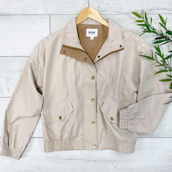 Front Zip Lightweight Jacket, Khaki