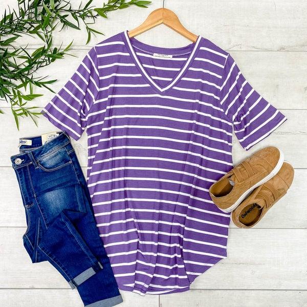 *PLUS* Striped V-Neck Top, Lilac Gray