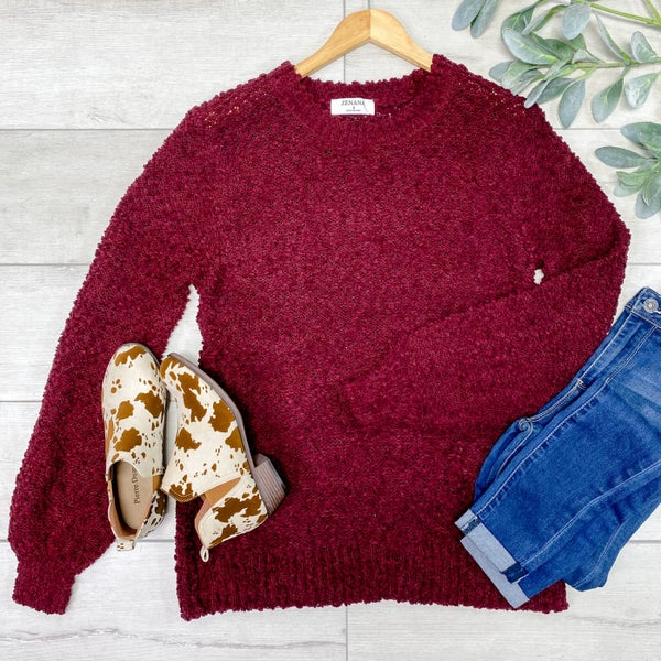 Solid Popcorn Sweater, Dark Burgundy