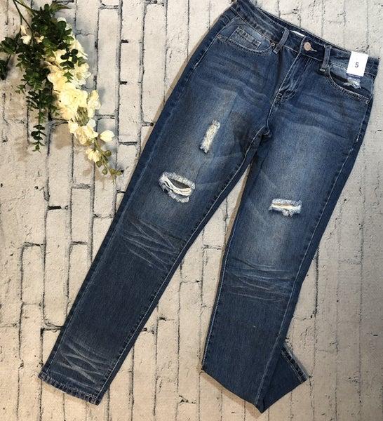 YMI-Distressed Skinny Jean, Medium Denim (N) [[LIVE]]