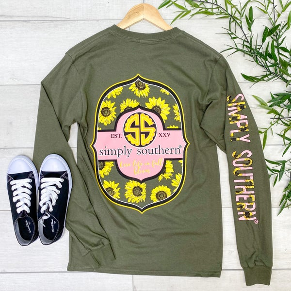 *Simply Southern* LS Live Life TEE, Moss