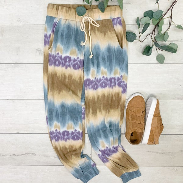 Fleece Tie Dye Joggers, Teal Combo