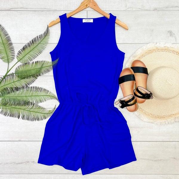 Solid Sleeveless Romper, Bright Blue