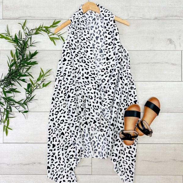 Leopard Print Flyaway Vest, White