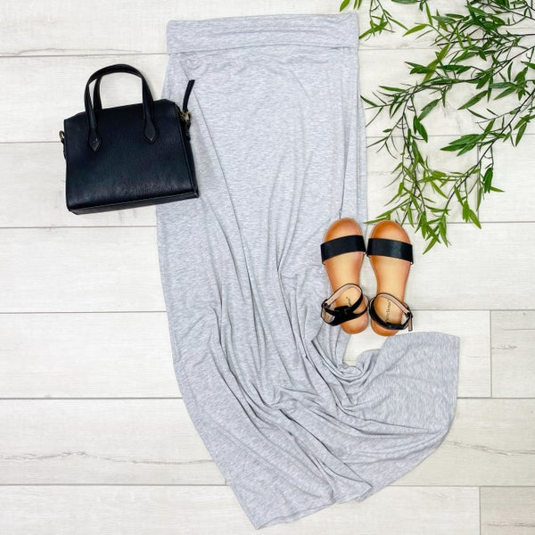 *PLUS* Relaxed Fit Maxi Skirt, Heather Gray [[LIVE]]