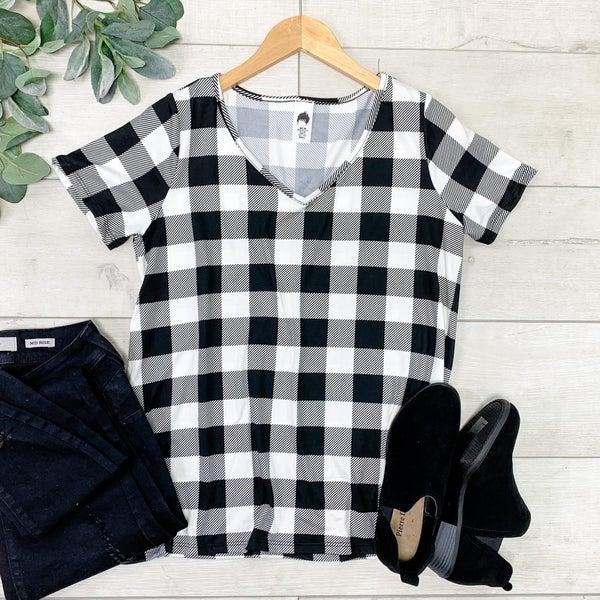 Plaid V-neck Top, Black/White