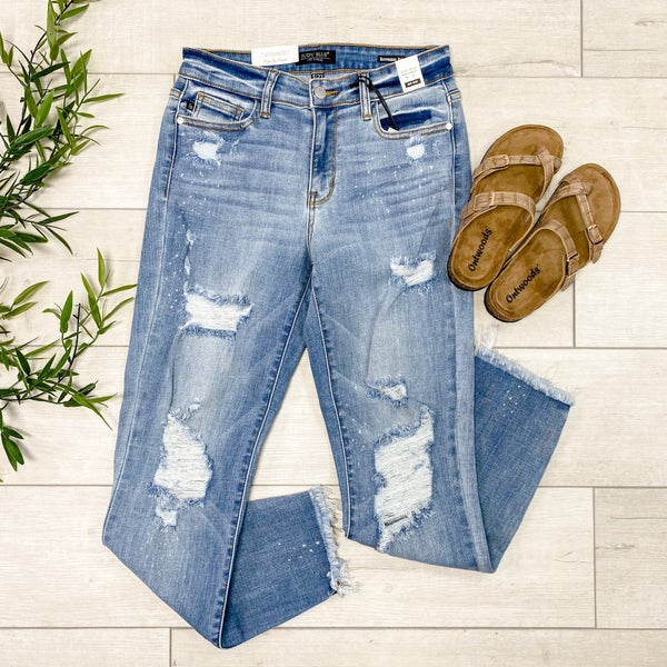 *JUDY BLUE* Beach Splash Boyfriend Denim, Light Wash