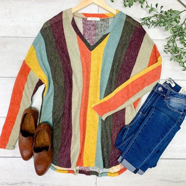 Striped Knit V-neck Top, Rust