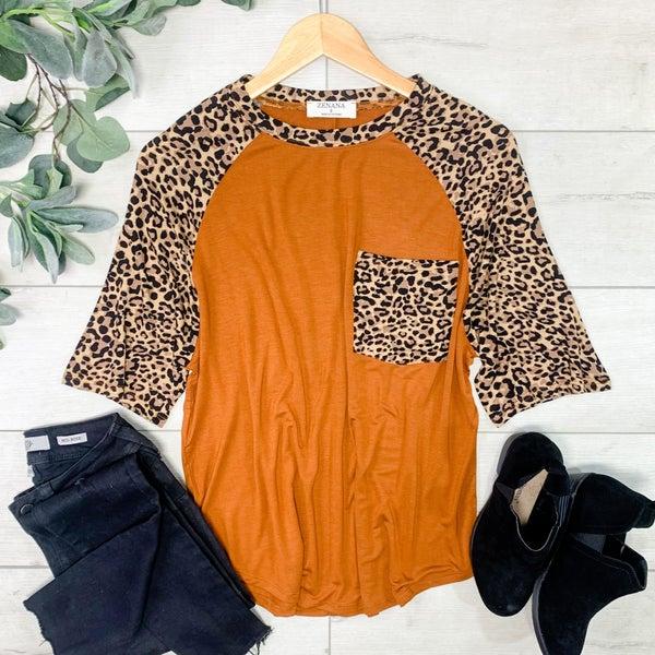 Leopard Sleeve Raglan, Almond