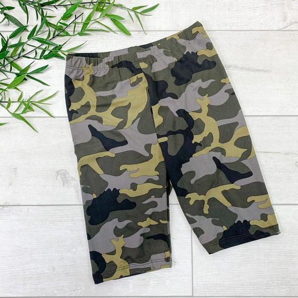 Camo Biker Shorts, Army Camo