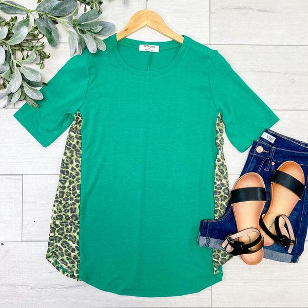 Leopard Contrast Side Top, Kelly Green