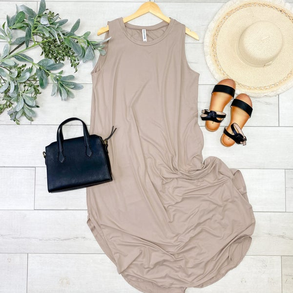 *PLUS* Solid Sleeveless Midi, Ash Mocha