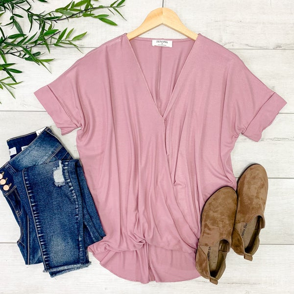 Draped Front Top, Light Rose