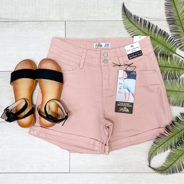 High Rise Cuffed Shorts, Rose