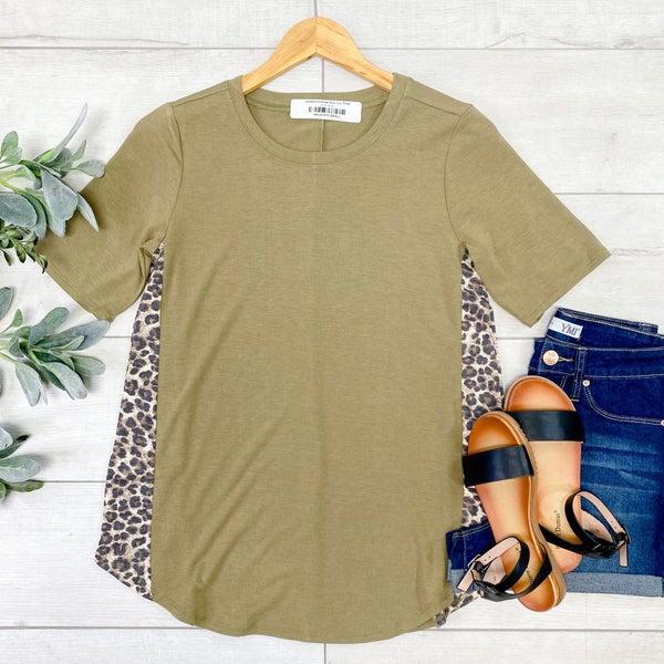 Leopard Contrast Side Top, Khaki