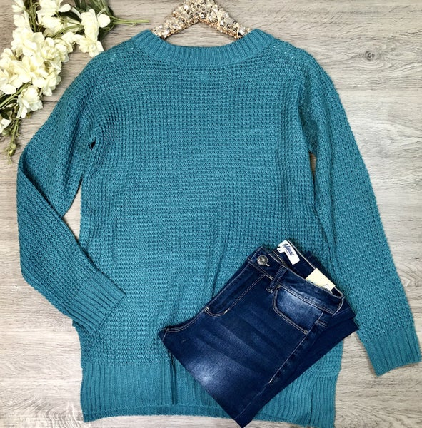 Waffle Knit Sweater, Dusty Teal