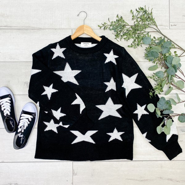 Star Pattern Round Neck Sweater, Black [[$20--LIVE]]