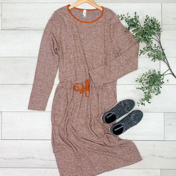 *PLUS* Striped Tie Waist Dress, Rust