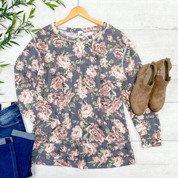 Floral Pullover Top, Mauve