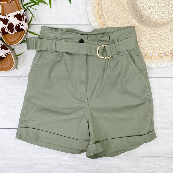 Belted Paperbag Cuffed Shorts, Olive