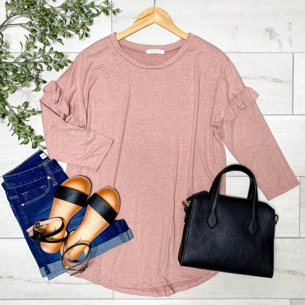 Ruffle Trimmed Heathered Top, Brick
