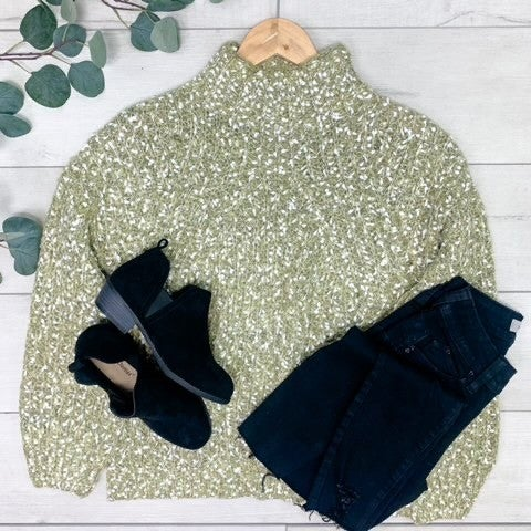 *Kendra's Collection* Confetti Turtleneck Sweater, Green